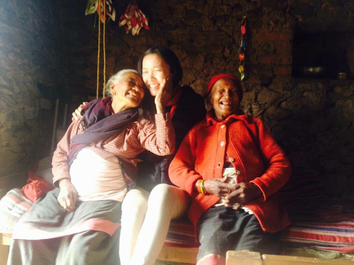 Photo of Rachel with 2 Nepalese Women